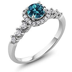 Sterling Silver Round London Blue Topaz & White Created Sapphire Women's Engagement Ring (0.97 cttw Available in size 5 6 7 8 9)