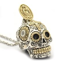 Sterling Silver Sugar Skull Necklace Pendant Jewelry (Large) >>> Click image for more details.