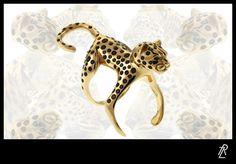 Jack Vartanian Leopard Ring (Menagerie collection) #JackVartanian #Jewelry #Rings #Gold #Black #Diamonds #Leopard #LeopardPrint