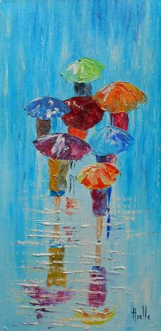 Tableau de 30 x 60 cm personnages avec des parapluies sous la pluie ou la neige par peintures-axelle-bosler : Peintures par peintures-axelle-bosler