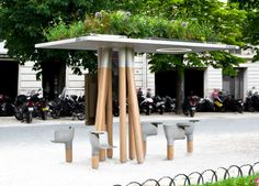 Digital Green Bus Stop by French designer, Mathieu Lehanneur,
