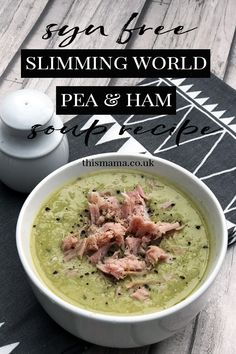 I've made a big batch of Slimming World Pea & Ham Soup and it's syn free, filling and totally yum too so win win!week I've made a big batch of Slimming World Pea & Ham Soup and it's syn free, filling and totally yum too so win win! Slimming World Soup Recipes, Slimming World Diet Plan, Slimming World Dinners, Hearty Soup Recipes, Chicken Soup Recipes, Slimming Word, Healthy Cooking, Cooking Recipes, Healthy Recipes