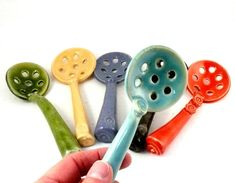 Mini colander Ceramic slotted spoon kitchen food prep - handmade tiny strainer colander - ready to ship your choice of color