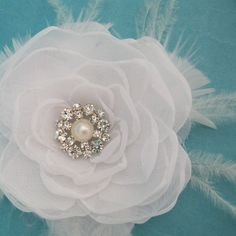 Bridal Hair Rose White Organza Feather Flower Hair by HARTfeltart, $39.50