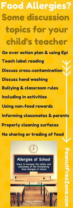 Food Allergy Safety topics to discuss with your child's teacher #foodallergy #peanutallergy
