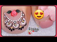 Diseño de uñas con mucho detalle pero un toque discreto/Decoración de uñas PIE/Diseño para pedicure Purple And Pink Nails, Pedicure, Veronica, Desserts, Youtube, Work Nails, Toenails Painted, Lace Nails, Simple Toe Nails