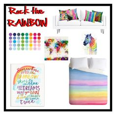 """Rock the Rainbow"" by macey-medlin ❤ liked on Polyvore featuring interior, interiors, interior design, home, home decor, interior decorating, Stupell and rainbowhome"