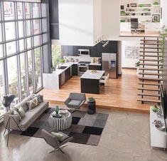 Loft House Design, Loft Interior Design, Home Room Design, Luxury Interior, Room Interior, Small Loft Apartments, Living Room Goals, Loft Interiors, Small Rooms