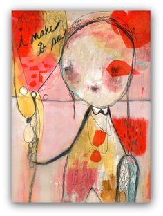 "Original Painting , Mixed Media, Acrylic Painting by Christina Romeo ""i make it so"" by ChristinaRomeo on Etsy"