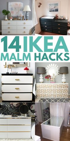 IKEA MALM Dresser Hacks That'll Amaze You! IKEA Malm Dresser Hacks to transform your furniture on a small budget! These DIY Malm hacks are great for changing the look of your nightstand, headboard, vanity, and desk! Try these clever ideas today! Malm Hack, Hack Ikea, Ikea Hack Storage, Bedroom Hacks, Ikea Bedroom, Ikea Headboard, Bedroom Ideas, Ikea Furniture Hacks, Furniture Makeover