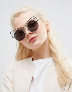 ASOS Round Kitten Sunglasses In Skeleton Wire Frame