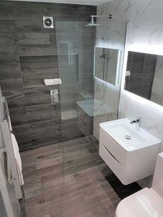 Wet Room Design ideas A fabulous European idea that is catching on in the US, the shower wet room is a half and half of the traditional shower and the no Bathroom Redesign, Bathroom Interior Design, Marble Bathroom Designs, Small Bathroom Layout, Small Bathroom Decor, Wet Room Shower, Wet Bathroom Ideas, Bathroom Decor