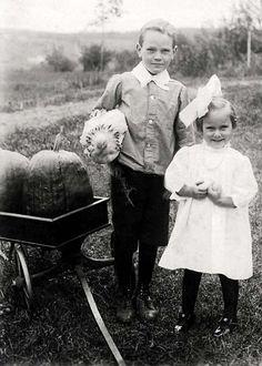 Edwardian children with pumpkins & chicken....Happy Fall~~~