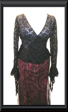 Stunning heavy lace faux wrap top, flattering and feminine