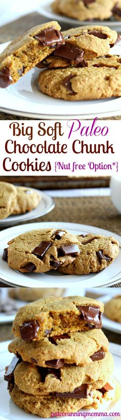 Big Soft Paleo Chocolate Chunk Cookies with nut free option #grainfree #paleo #glutenfree @paleorunmomma