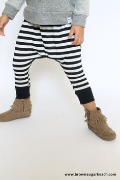 40% OFF WINTER SALE- Ready to Ship- Kids Harem Pants. Black & White Stripe with white cotton jersey yoga waistband/cuff.