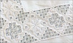 Hardanger embroidery is a traditional Drawn Thread, Hardanger Embroidery, Cross Patterns, Cutwork, White Fabrics, Woven Fabric, Needlework, Weaving, Cross Stitch