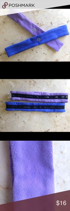 Classic Lululemon Headbands, Purple and Blue Classic Lululemon headbands. 2 total, One Blue and One Purple. Selling as bundle only. Slight discoloration in purple headband(shown in photos above). lululemon athletica Accessories