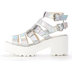 Dionne Holographic Extreme Gladiator Sandal (660 MXN) ❤ liked on Polyvore featuring shoes, sandals, grey, chunky gladiator sandals, summer shoes, gladiator sandals shoes, grey gladiator sandals and greek sandals