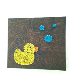 Duck with Bubbles Nail and String Art Home Wall Decor
