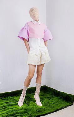 Nigel Chia Fall 2015 Bi-toned top, white shorts www.nigelchia.com