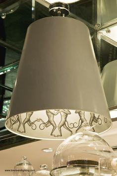 "Interior ""monkey"" pattern created with digital printing by townsend* Lighting  #PhilippeStarck #SLSHotel   digitally printed lampshades"