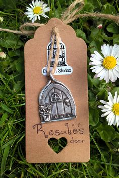 Rosalies Door Pendant / Fairy Door / PMC3 / Fine Silver 999 /