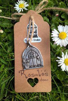 Rosalies Door Pendant / Fairy Door / PMC3 / Fine Silver 999 /