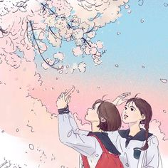 Image in Anime (^_^) collection by Miss__Flower Sky Anime, Anime Art, Aesthetic Drawing, Aesthetic Art, Anime Friendship, Pretty Drawings, Pretty Anime Girl, Adventure Time Anime, Cute Illustration