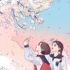 Image in Anime (^_^) collection by Miss__Flower Sky Anime, Anime Art, Anime Friendship, Pretty Drawings, Pretty Anime Girl, Anime Scenery, Adventure Time Anime, Kawaii Art, Cute Illustration
