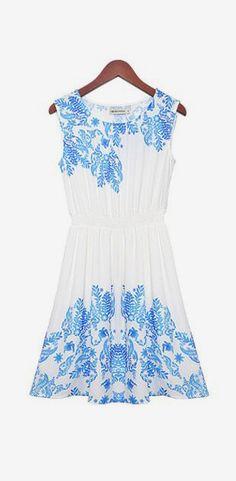 Blue Leaves Print White Elastic Waist Pleating Sleeveless Chiffon Dress