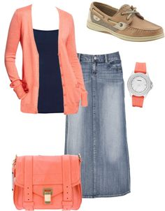 Coral & navy that's cute denim skirt outfits, modest outfits Modest Clothing, Modest Dresses, Modest Outfits, Skirt Outfits, Modest Fashion, Casual Outfits, Cute Outfits, Apostolic Fashion, Modest Apparel
