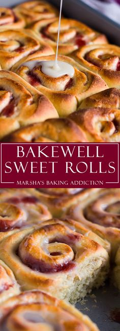 Bakewell Sweet Rolls - Deliciously soft and fluffy almond flavoured sweet rolls filled with raspberry jam, and drizzled with a sweet almond glaze! Brunch Recipes, Sweet Recipes, Breakfast Recipes, Dessert Recipes, Easy Desserts, Delicious Desserts, Yummy Food, Churros, Sweet Roll Recipe