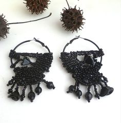 Black earrings bohemian gypsy by Cesart64 on Etsy