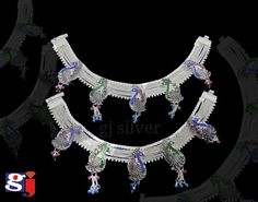 Indian traditional silver jewellery ,wedding payal by Royal Jewelry, Silver Jewellery, Indian Jewelry, Fine Jewelry, Silver Payal, Silver Anklets, Silver Pooja Items, Anklet Designs, Toe Rings