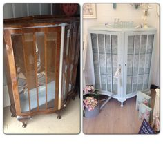 Beautiful restored china display cabinet!   Painted in - laura Ashley - duck egg  Check us out www.chosesjoliespetites.com  Choses jolies petites - fb