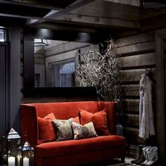 Norwegian wooden house in the mountains and cozy evenings by the fireplace on Christmas Eve. Chalet Interior, Interior Exterior, Mountain Cottage, Interior Decorating, Interior Design, Cottage Interiors, Wooden House, Deco Design, House In The Woods