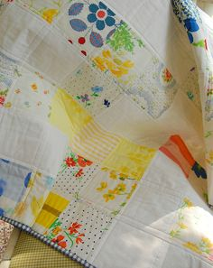 vintage sheets quilt by happy little cottage