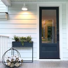 A charming mix of modern and farmhouse vibes! Our Wesco Wall Sconce looks right at home in your space! Thanks for sharing 👍😊 Patio Ideas Australia, Patio Design, House Design, Garden Design, Colonial House Exteriors, Buy My House, Tiny House, Three Season Porch, White Porch