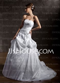 A-Line/Princess Strapless Chapel Train Taffeta Wedding Dresses With Lace Beadwork (002011405) - JJsHouse