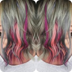 Grey/gray hair. Pink hair. Purple hair. Magenta hair.  Kenra 7sm+8sm. @alanas_hair