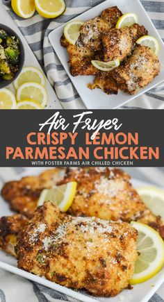 Make this easy Crispy Lemon Parmesan Chicken using your Air Fryer and Foster Farms Air Chilled Chicken. Air Fryer Oven Recipes, Air Frier Recipes, Air Fryer Dinner Recipes, Air Fryer Chicken Recipes, Quick Chicken Recipes, Quick Meals, Air Fryer Healthy, Cooking Recipes, Healthy Recipes