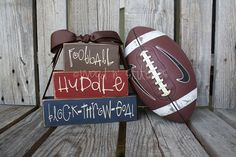 Football Huddle Block Throw Goal great gift by jodyaleavitt, . Football Crafts, Football Tailgate, Football Is Life, Football Decor, Football Moms, Football Stuff, Football Season, Vinyl Crafts, Vinyl Projects