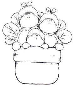 Cute Kids in basket of flowers