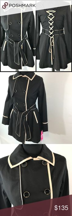 Betsey Johnson Corset Back Trench Coat Double breasted belted trench  Product Features:  Adjustable corset back  Contrast piping  Size:  Small Betsey Johnson Jackets & Coats Trench Coats