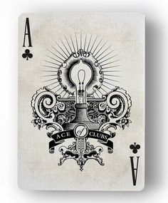 Innovation Playing Cards by Jody Eklund: The Ace of Clubs - The Light Bulb | more here: http://playingcardcollector.net/2015/03/15/innovation-playing-cards-by-jody-eklund/