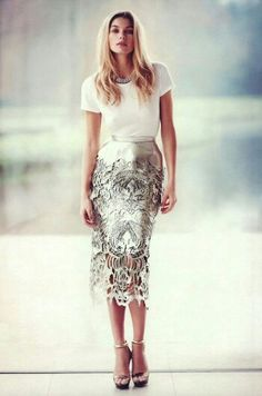 knee length skirt with lace overlay