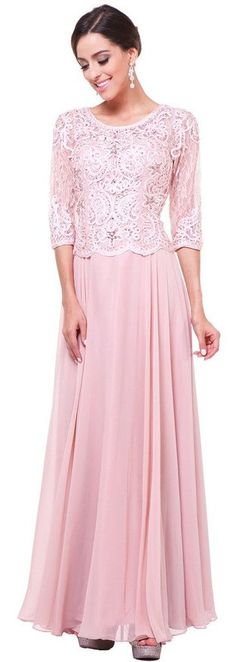Meier Women's Half Sleeve Lace Rhinestone Mother of Bride Evening Party Dress Blush S