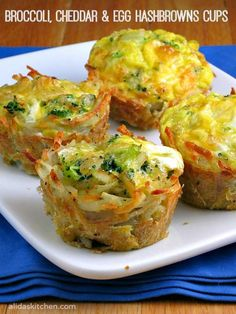 Broccoli, Cheddar & Egg Hashbrowns Cups are shredded potatoes baked in a muffin tin and then filled with broccoli, cheddar cheese and eggs. Batata Potato, Brunch Recipes, Breakfast Recipes, Brunch Menu, Sunday Brunch, Easy Egg Breakfast, Breakfast Cups, Do It Yourself Food, Good Food