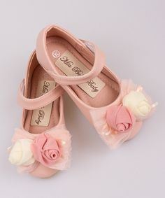 Look at this Pink Double Flower Bow Ballet Flat on #zulily today!